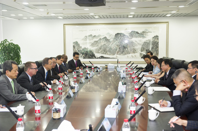 Secretary-General Meets Chairman of China Investment Corporation