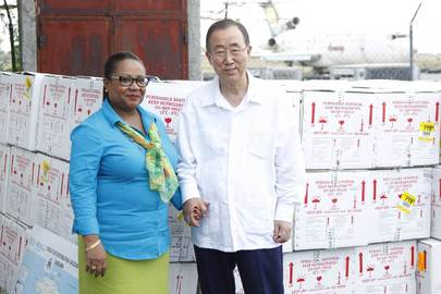 Secretary-General Tours Facility Holding Cholera Vaccines