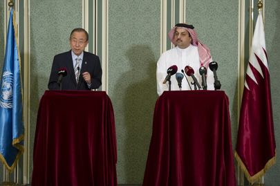 Secretary-General in a Press Conference with Minister of Foreign Affairs the State of Qatar.