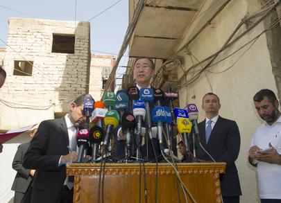 Secretary-General Speaks to Press in Najaf