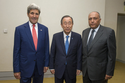 Secretary-General Meets Egyptian and US Foreign Ministers in Cairo