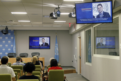 Head of UNRWA Briefs Journalists from Gaza via Telephone