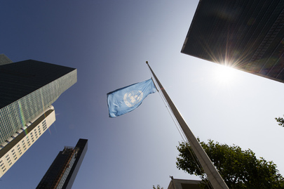 UN Flag at Half-mast in Memory Staff Fallen in Gaza