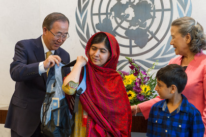 Secretary-General Presents Backpack to Malala