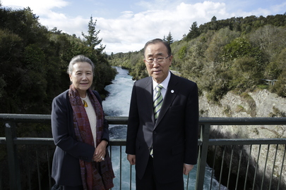 Secretary-General Visits Huka Falls, New Zealand