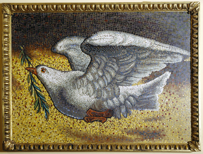 "On his official visit to the United Nations in 1979, Pope John Paul II presented the United Nations with a mosaic of the ""Dove of Peace"", a reproduction of a mosaic executed in the 12th century. 01 August 1985 United Nations, New York"