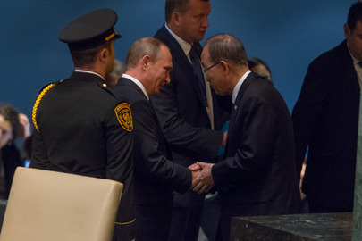 Secretary-General with Russian President at General Assembly Debate
