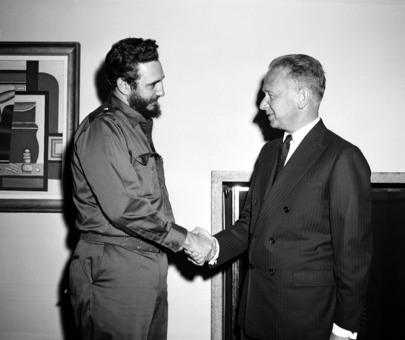Premier Fidel Castro of Cuba Visits United Nations