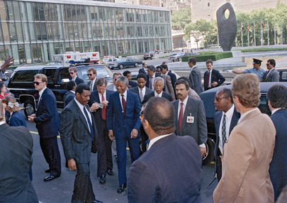 Nelson Mandela (ANC) Arrives at the United Nations