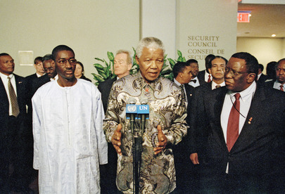 Nelson Mandela Briefs Security Council, Meets with Press