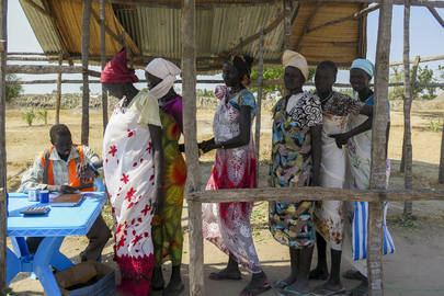 Women Queue to Register for Humanitarian Aid in Leer County, South Sudan