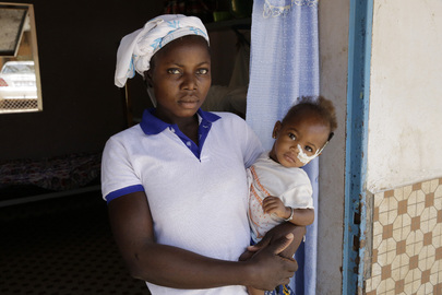 Mother and Child at Pediatric Unit in Schiphra Hospital, Ouagadougou