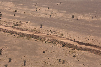 Aerial View of Sand Berm in Western Sahara