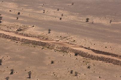 Aerial View of Sand Berm in Western Sahara