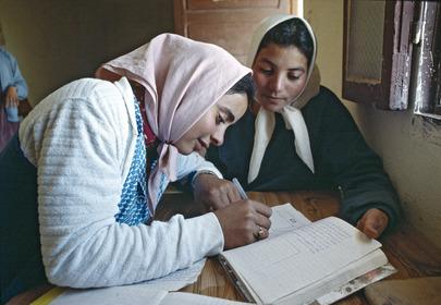 Young women attending an adult literacy class in Makthar. 01 January 1990 Makthar, Tunisia