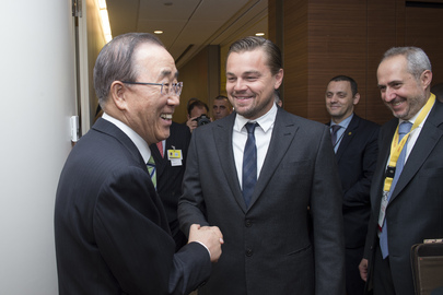 Secretary-General Greets Leonardo DiCaprio at Paris Climate Agreement Ceremony