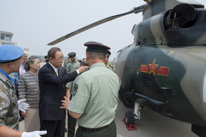 Secretary-General Visits Peacekeeping Operations Centre in Beijing