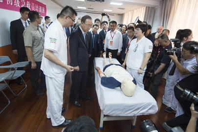 Secretary-General and Mrs. Ban visit Beijing Red Cross Emergency Rescue Center.