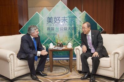Secretary-General Meets UN Special Envoy for Global Education in Hangzhou