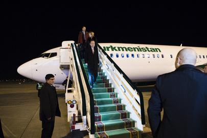 Secretary-General Arrives in Turkmenistan