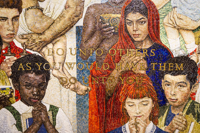 United nations photo detail from norman rockwell mosaic for Golden rule painting
