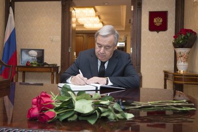 Secretary-General Signs Book of Condolences for Russian Representative