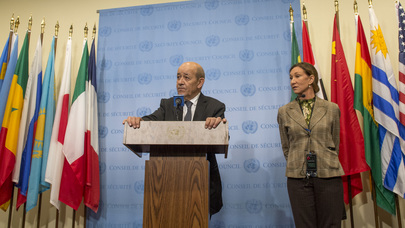 foreign minister of france briefs press