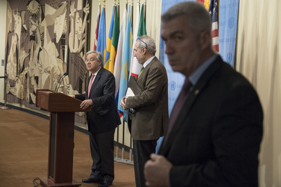 Secretary-General Speaks to Press about Trip to Asia and Europe