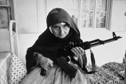 Elderly Armenian Woman Guards Home