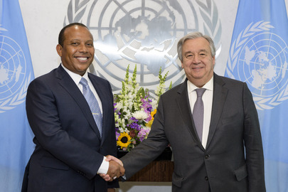 Secretary-General Meets Prime Minister of São Tome and Principe