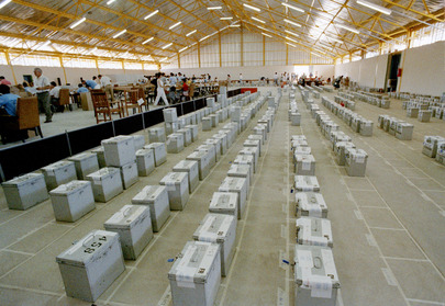 Tendered Ballots Gathered for Checking at Windhoek Showgrounds