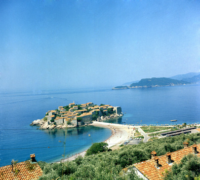 A view of Sveti-Stefin, near Budva on the Adriatic Coast. The old houses have been modernized and converted into a hotel-village in which accommodations are now available for tourists. [July 1969] 01 July 1969 South Adriatic Region, Yugoslavia Photo # 78883
