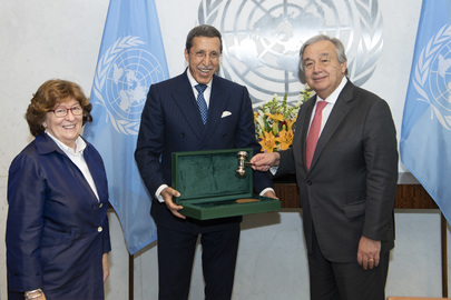 Secretary-General Receives Gavel used at Adoption of Global Compact for Safe, Orderly and Regular Migration