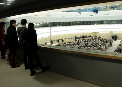Visitors Look on during 40th Session of Human Rights Council