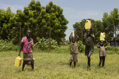 Children Carry Water in Leer, South Sudan