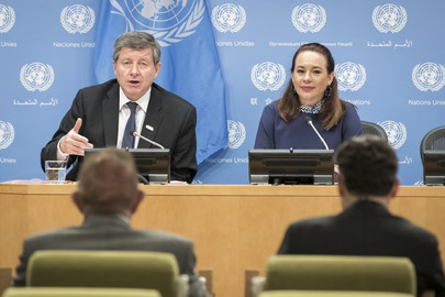 General Assembly President and ILO Director General Briefs Press on 100th Anniversary of ILO