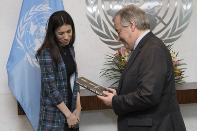 Secretary-General Meets Nobel Laureate and UNODC Goodwill Ambassador