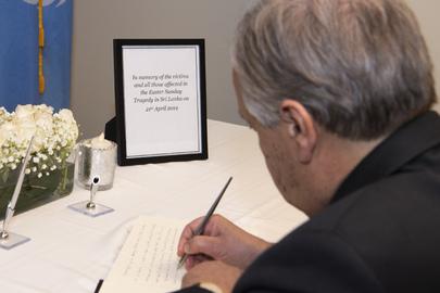 Secretary-General Signs Book of Condolences at Permanent Mission of Sri Lanka