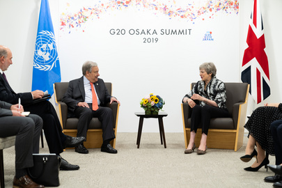 Secretary-General Meets Prime Minister of United Kingdom in Osaka