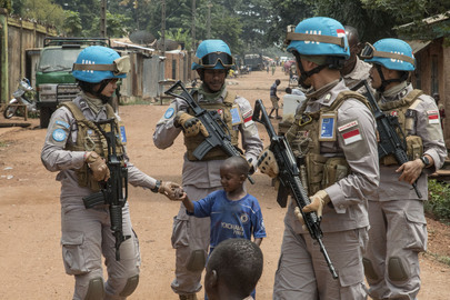 UN Police Serving with MINUSCA Patrol Bangui