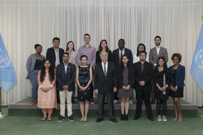 Secretary-General Meets 2019 Reham Al-Farra Fellows