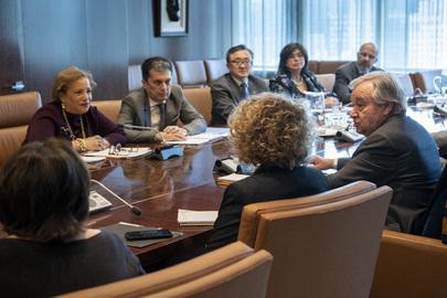 Secretary-General Chairs Meeting on Coronavirus Outbreak