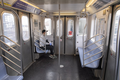 Scene in New York City Subway during COVID-19 Outbreak
