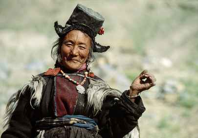 A Ladakhi woman, part of the Tibetan ethnic group. 01 August 1992 Photoksar, India