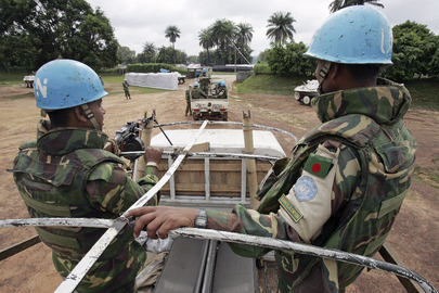 UNOCI Peacekeepers Patrol in Deukoue, Cte d&#039;Ivoire
