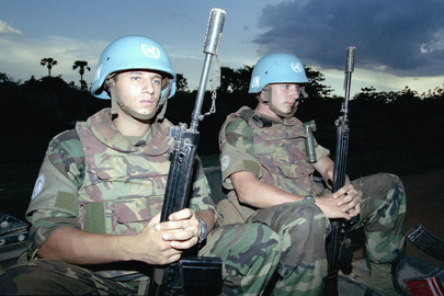Soldiers of the Dutch Batallion on a Night Patrol in Sisophon