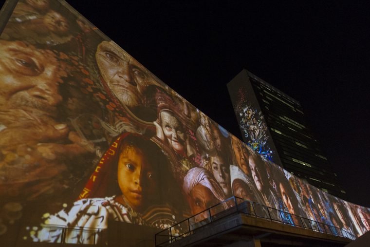 Massive Architectural Projections on UN Headquarters