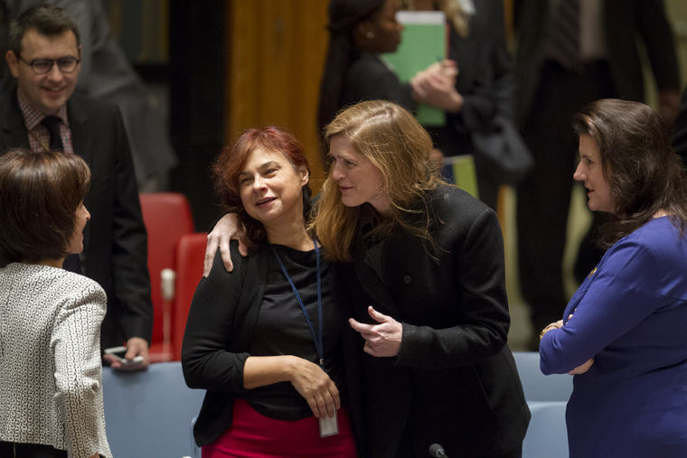 Security Council Members at Meeting on Liberia