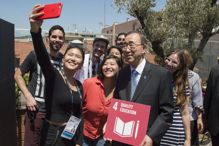 Secretary-General Meets Winners of Young Lions Competition, Cannes