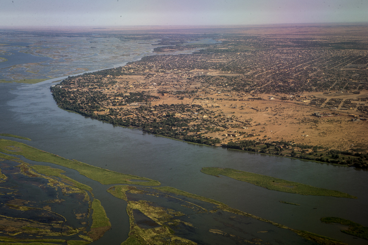 Aerial view of Gao, Mali